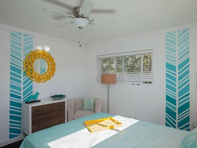 wand-streichen-muster-ideen-schlafzimmer-jugendliche-ombre-effekt - streichen schlafzimmer