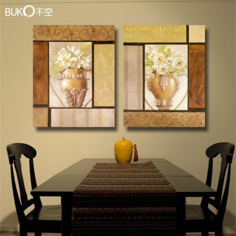 2pcs flower garden painting canvas paintings modern kitchen wall ...