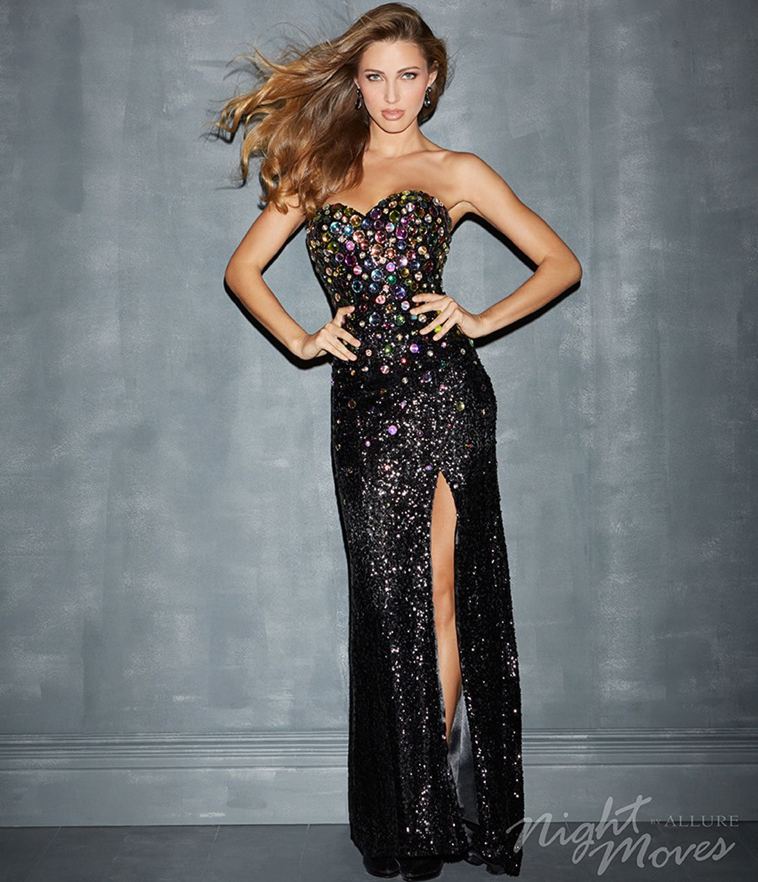 Images of Black Sequin Prom Dress - Reikian