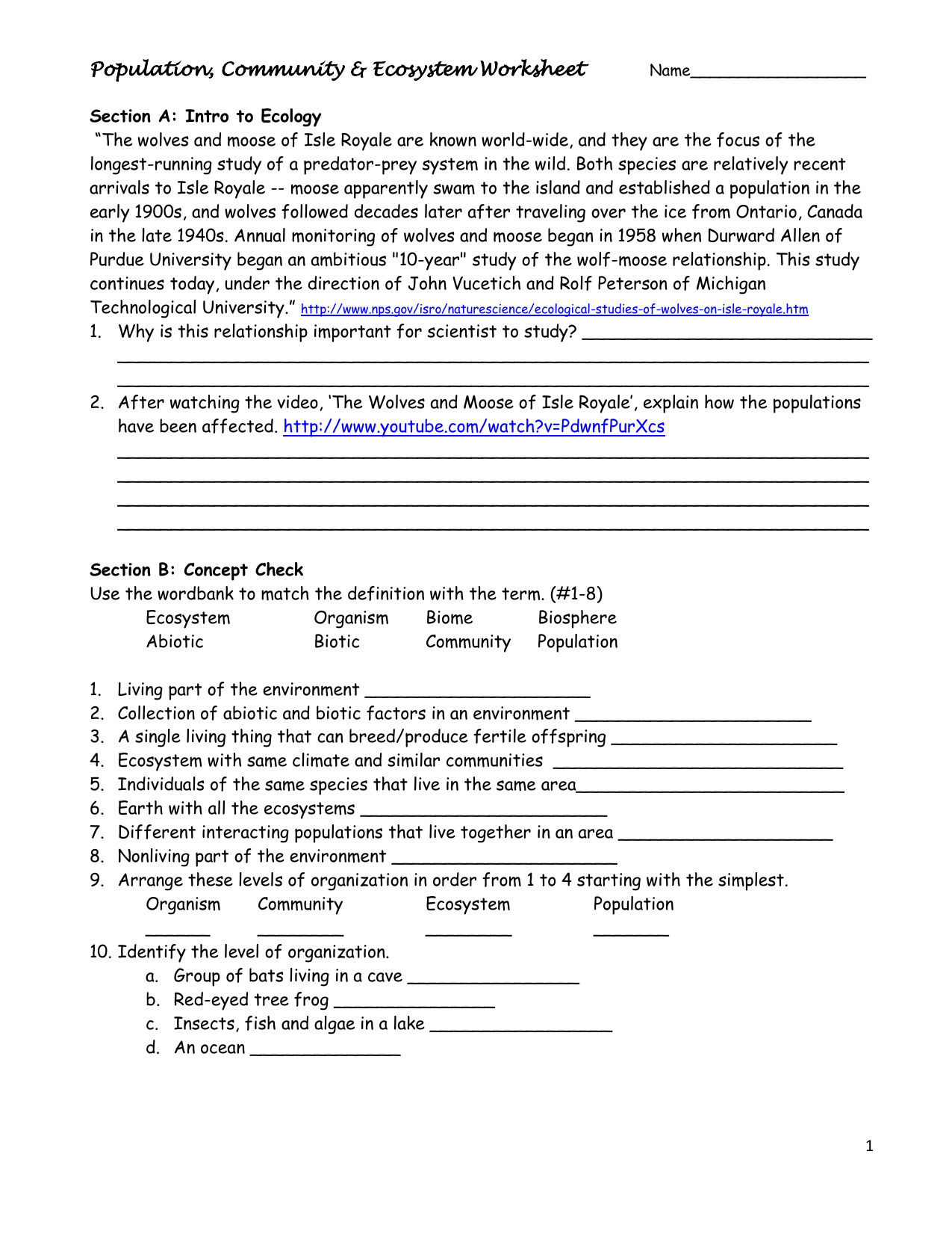 Worksheets Ecosystems Worksheets population community ecosystem worksheet life science worksheet