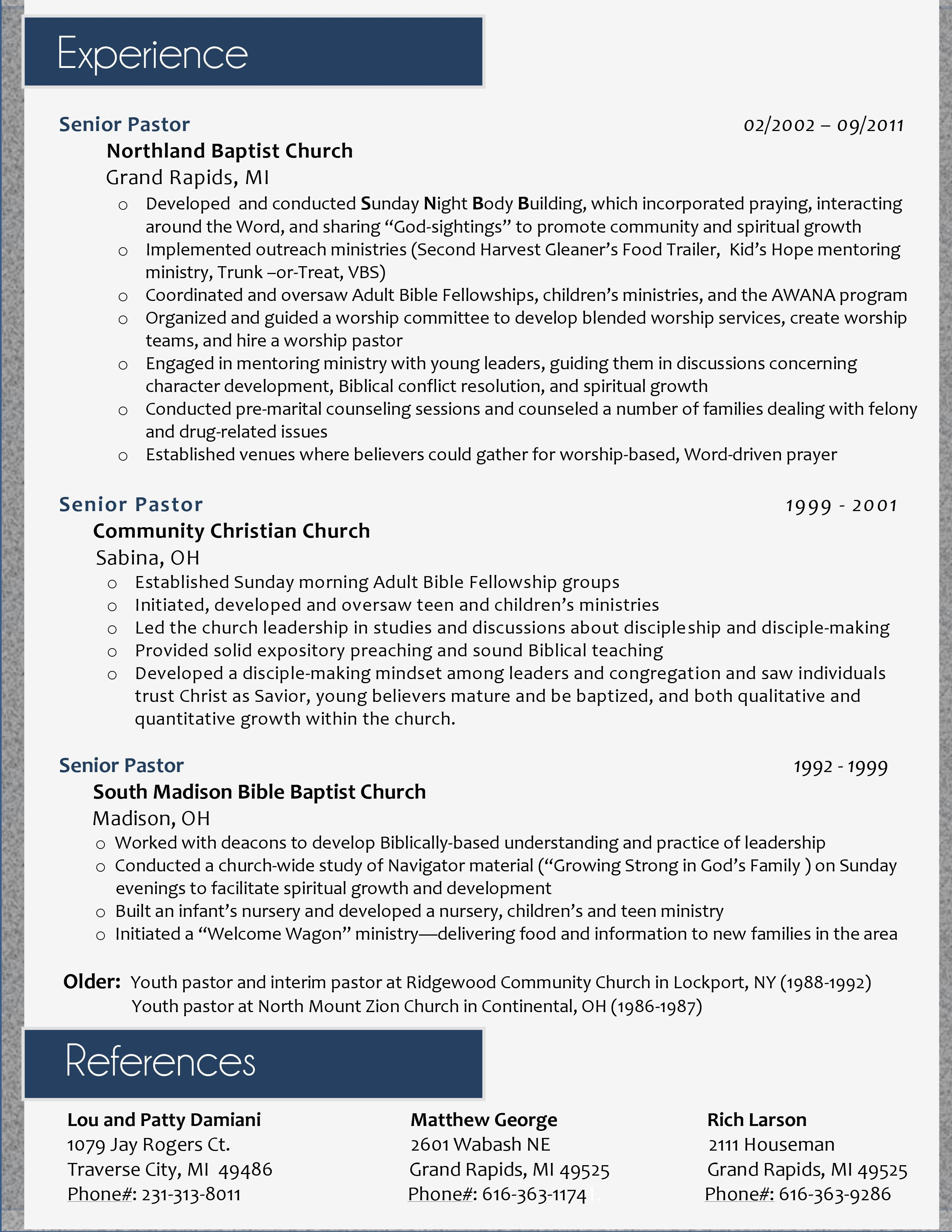 Youth Leader Cover Letter My Resume Design For A Pastoral Position Page 2 I Ll Do Yours