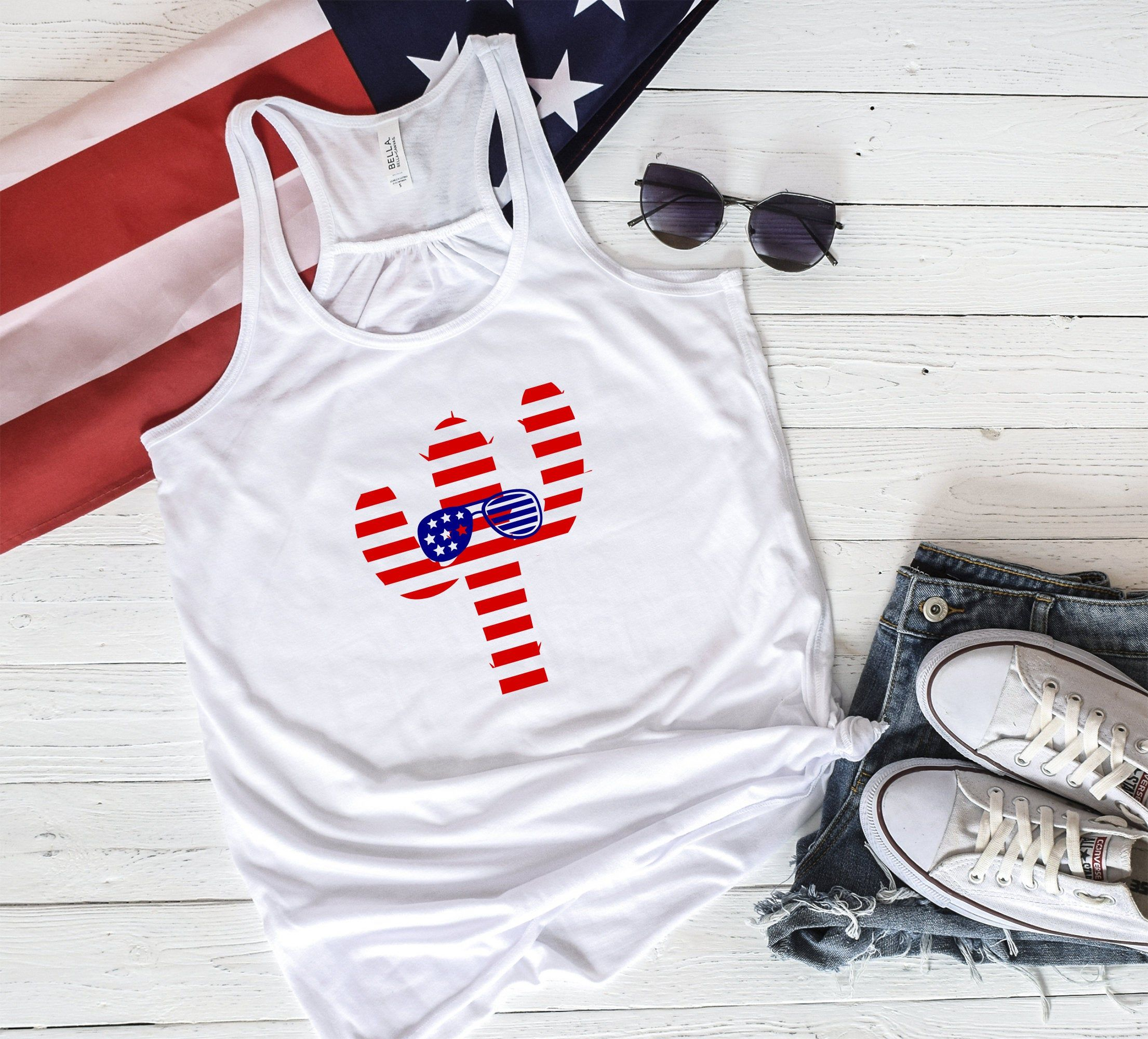 4th Of July Tank Top Cactus Tank Top American Flag Tank Top Forth Of July Cactus Patriotic Tank Top Cute Cactus Tank Sunglasses With Images