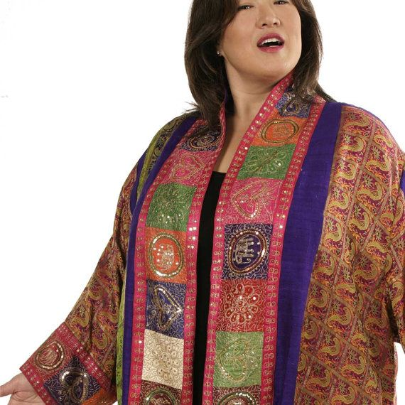 e1ddad6b60e Evening Jacket Plus Size Fuschia Purple Red Green Gold Phoenix Sequin  Jacket Vintage Sari Silk Weara