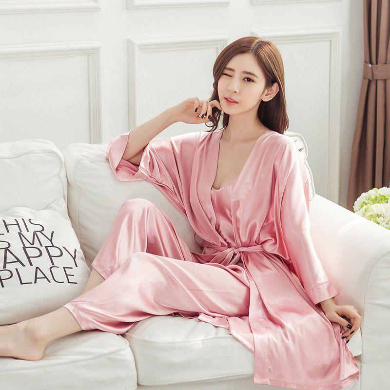 Korean Women s Long Sleeve Silk Pajamas Sleepwear Robes+Pants Nightwear 3Pcs f0199d2a5