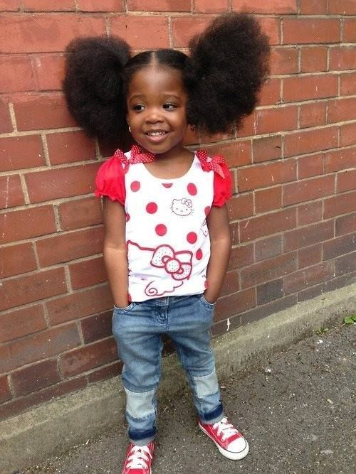 kitty and afro puffs adorable