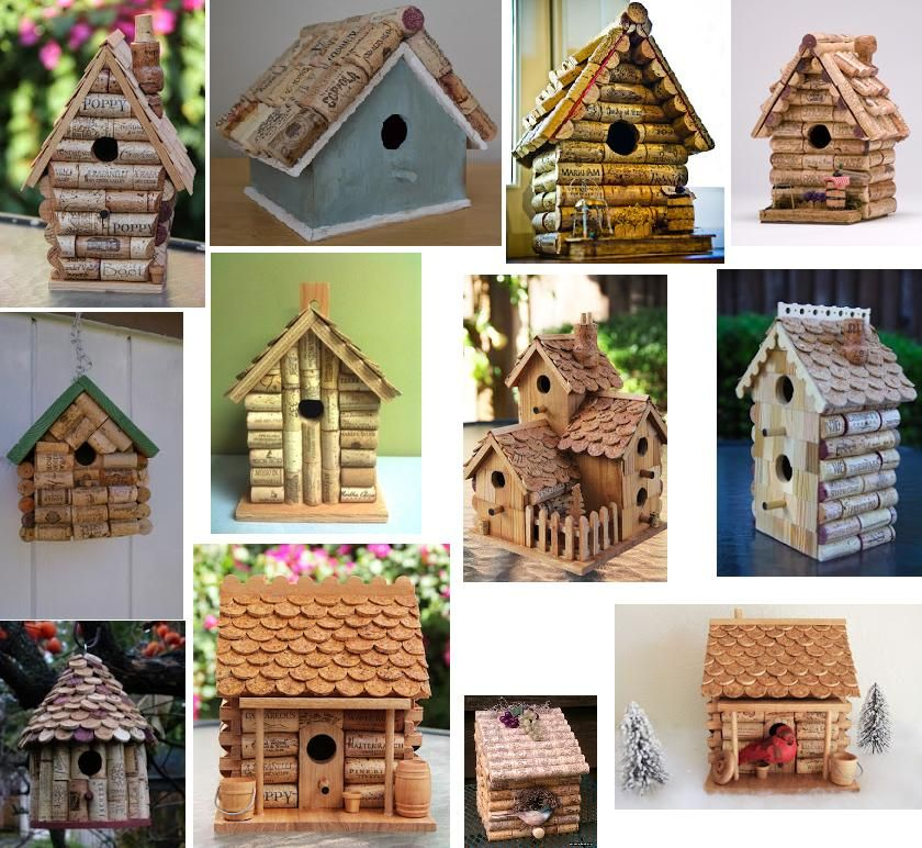 How to make a wine cork fairy house birdhouse gardening for How to make homemade bird houses