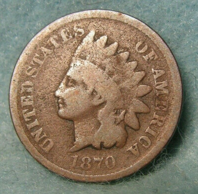 1870 Pick Axe Variety Indian Head Penny GOOD * US Coin