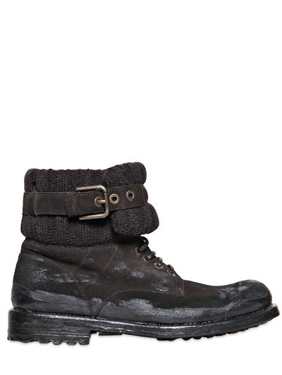 DOLCE & GABBANA - RIBBED WOOL & CRUST S.PIETRO LOW BOOTS