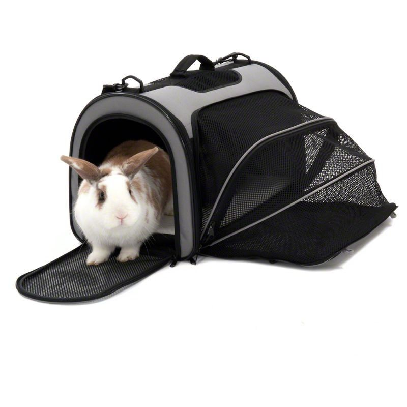 A transport bag with an run for a rabbit