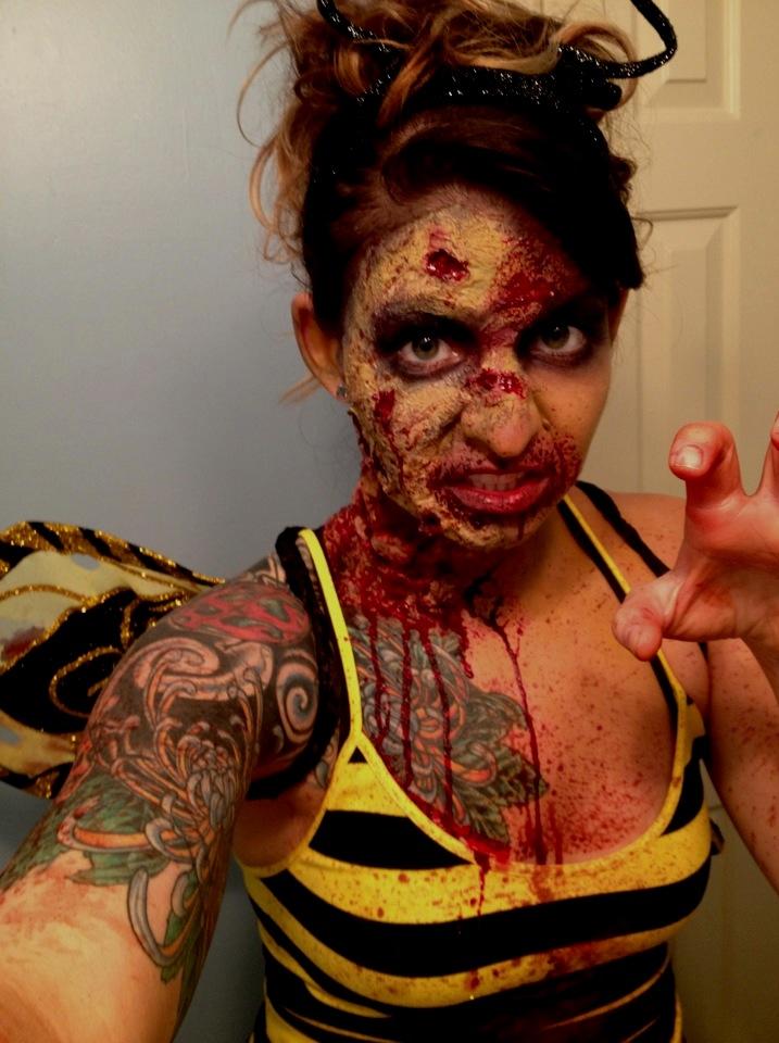 zom-bee! liquid latex and toilet paper