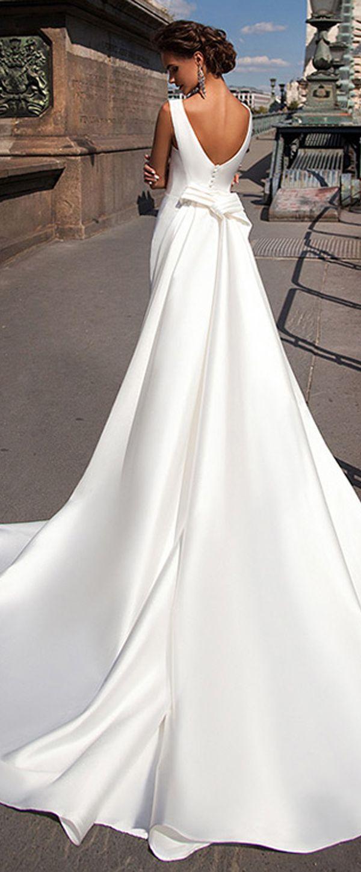 Mermaid wedding dress with detachable train  Charming Satin Bateau Neckline Mermaid Wedding Dresses With