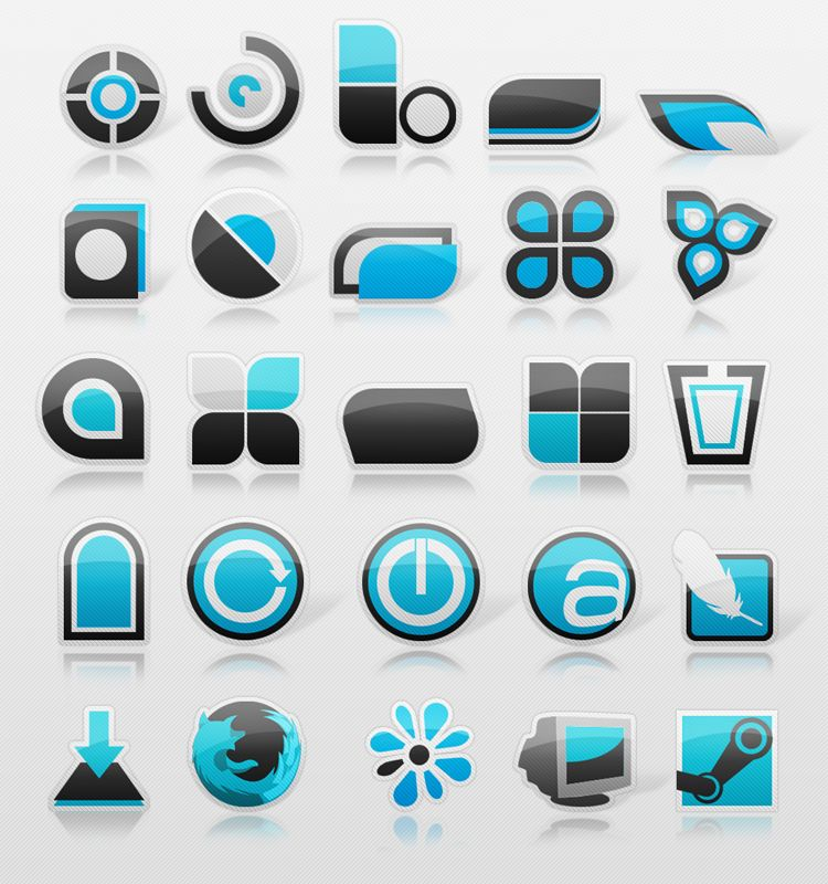 icon set contains 27 png dock icons and 25 ico files inspired by