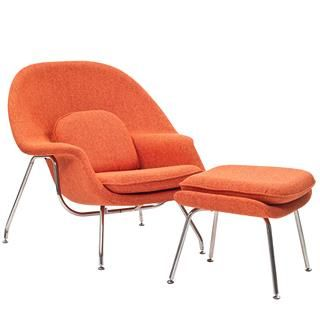 Check out the East End Imports EEI-113-ORT W Lounge Chair and Ottoman Set in Orange Tweed