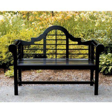 Achla Designs Lutyens 4-Foot Bench, Black  Outdoor