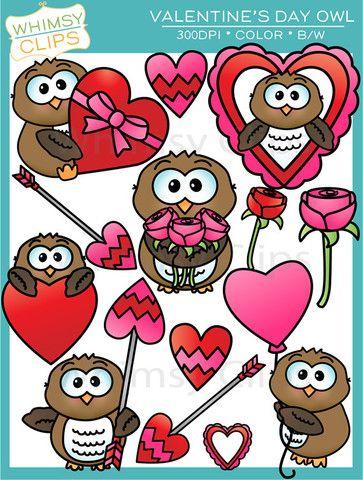 Valentine S Day Owl Clip Art Whimsy Clips Owl Clip Art Doddle Art Clip Art Vintage