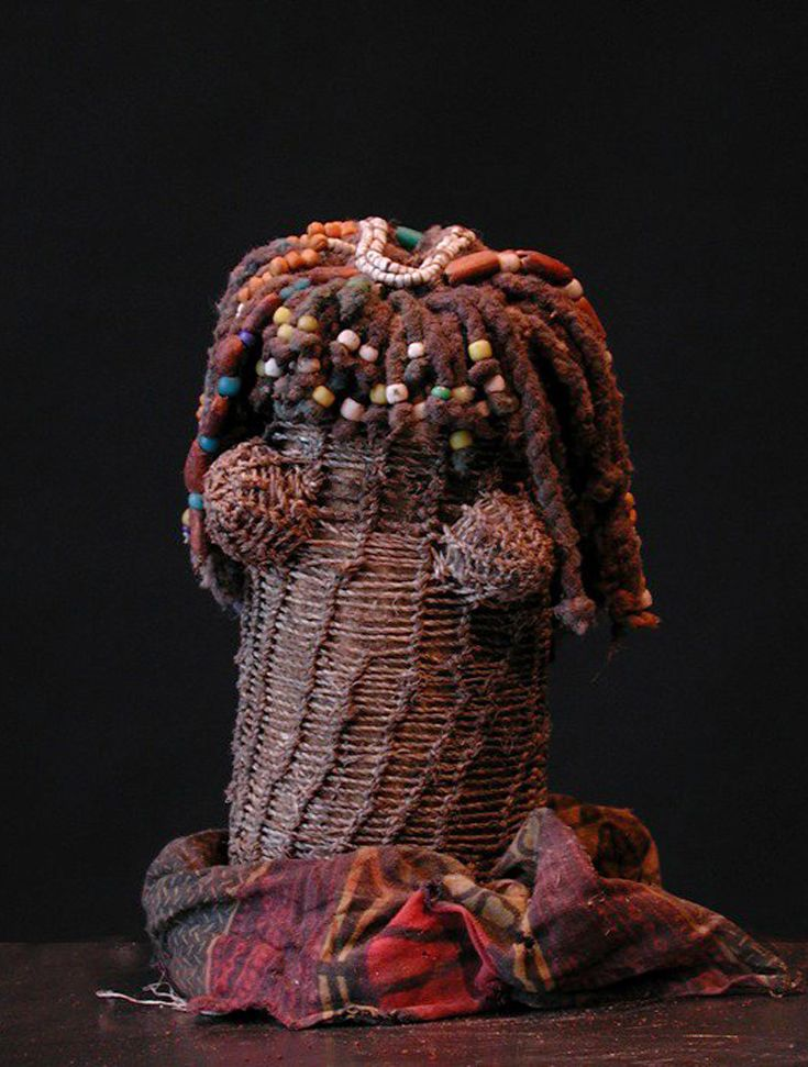 Africa | Doll from the Mwila people of southern Angola | Fiber, glass beads