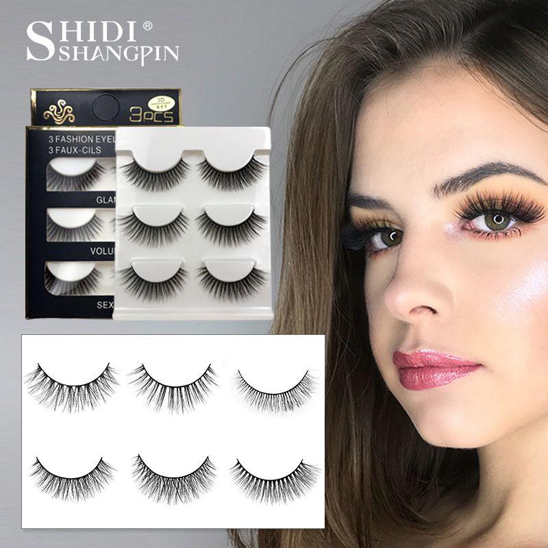 bfea4a68ed0 SHIDISHANGPIN 3 pairs mink eyelashes natural fake eye lashes make up  handmade 3d mink lashes false lash volume eyelash extension #алиэкспресс  #aliexpress