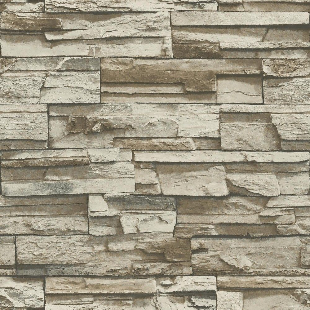 Roommates Stacked Stone Peel And Stick Wallpaper Gray Brown Nuwallpaper Slate Wallpaper Peel And Stick Tile