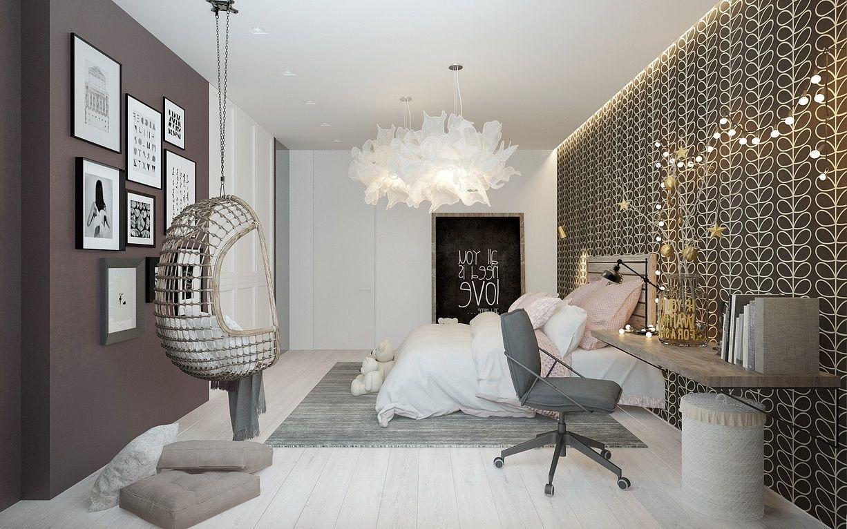 Cool Girl Raum Ideen Mit Einem Gemusterten Kopfteil Wand   Babyzimmer