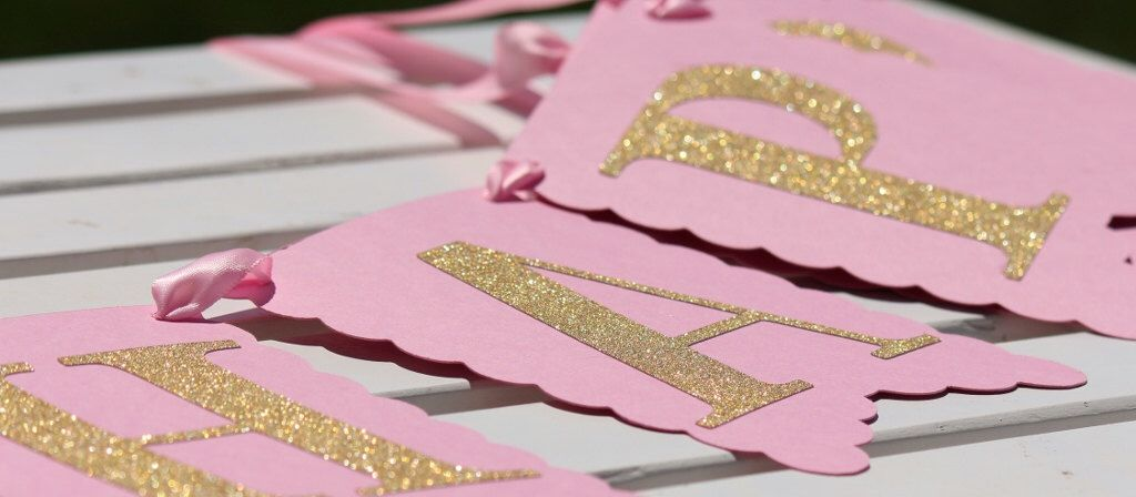 Light Pink and Gold Glitter Happy Birthday Banner 2 Name Banners