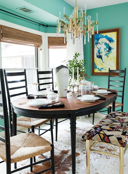 Gorgeous Eclectic Blue Dining Room By Erin Williamson