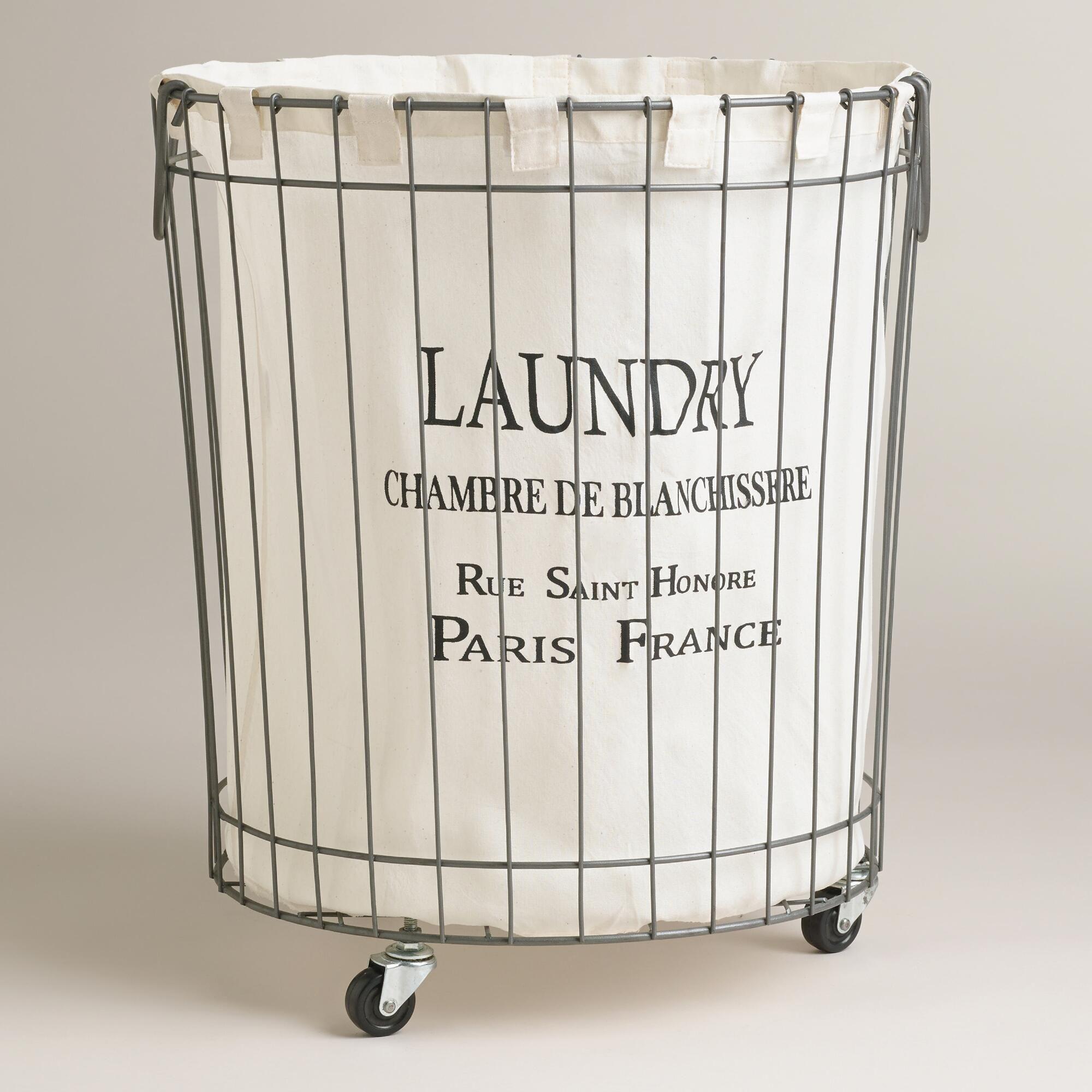 Claudette Wire Hamper Laundry Basket On Wheels Wire Laundry