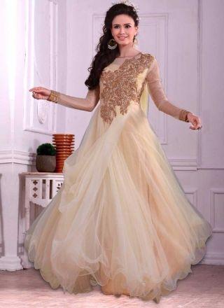 Cream Thread Work Embroidery Stone Work Net Wedding Designer Gown ...