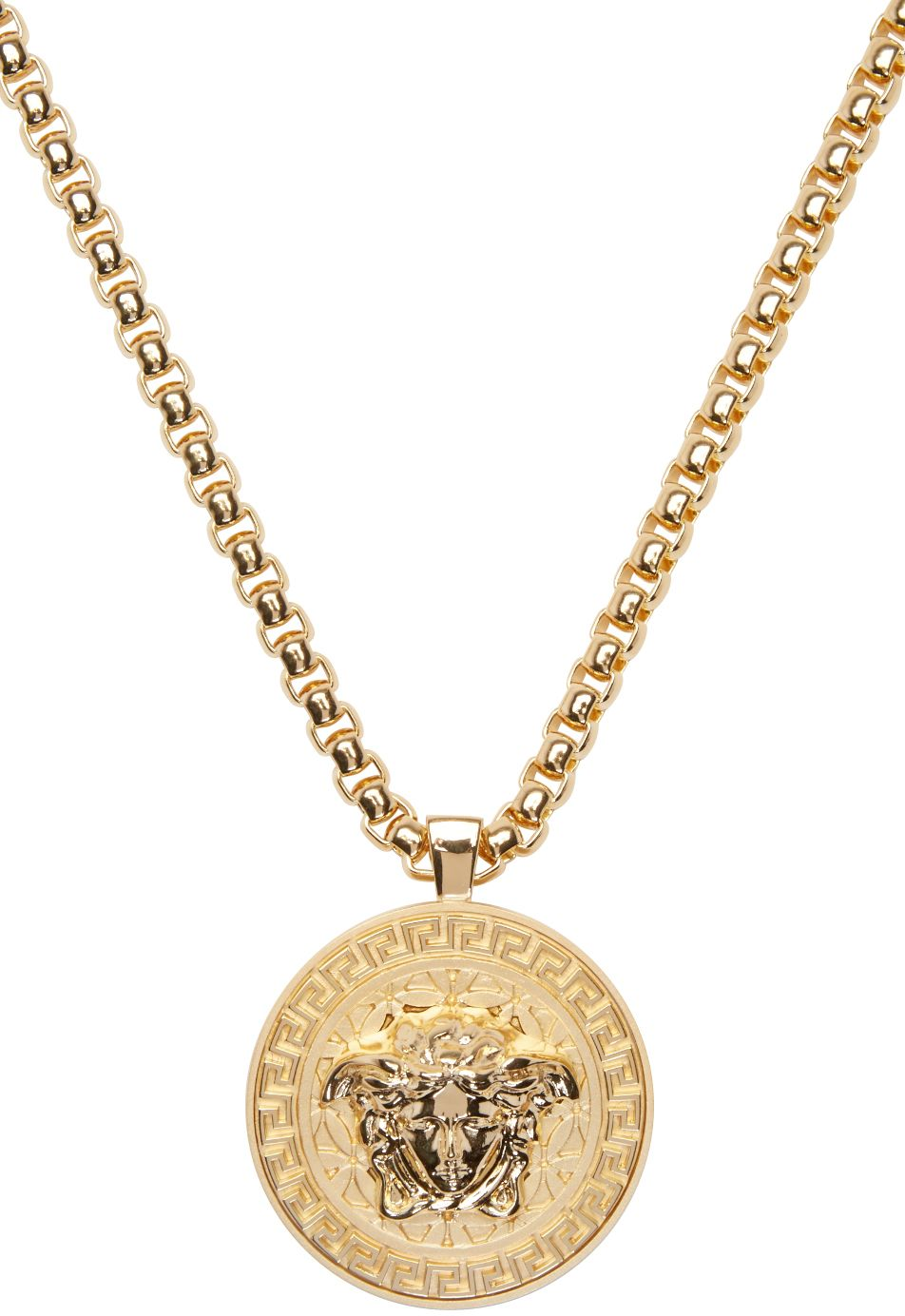 Cubic Curb Chain Necklace In Gold Tone Round Pendant Featuring Signature Carved Medusa Accent And Engraved Gree Chains For Men Gold Chains For Men Gold Chains
