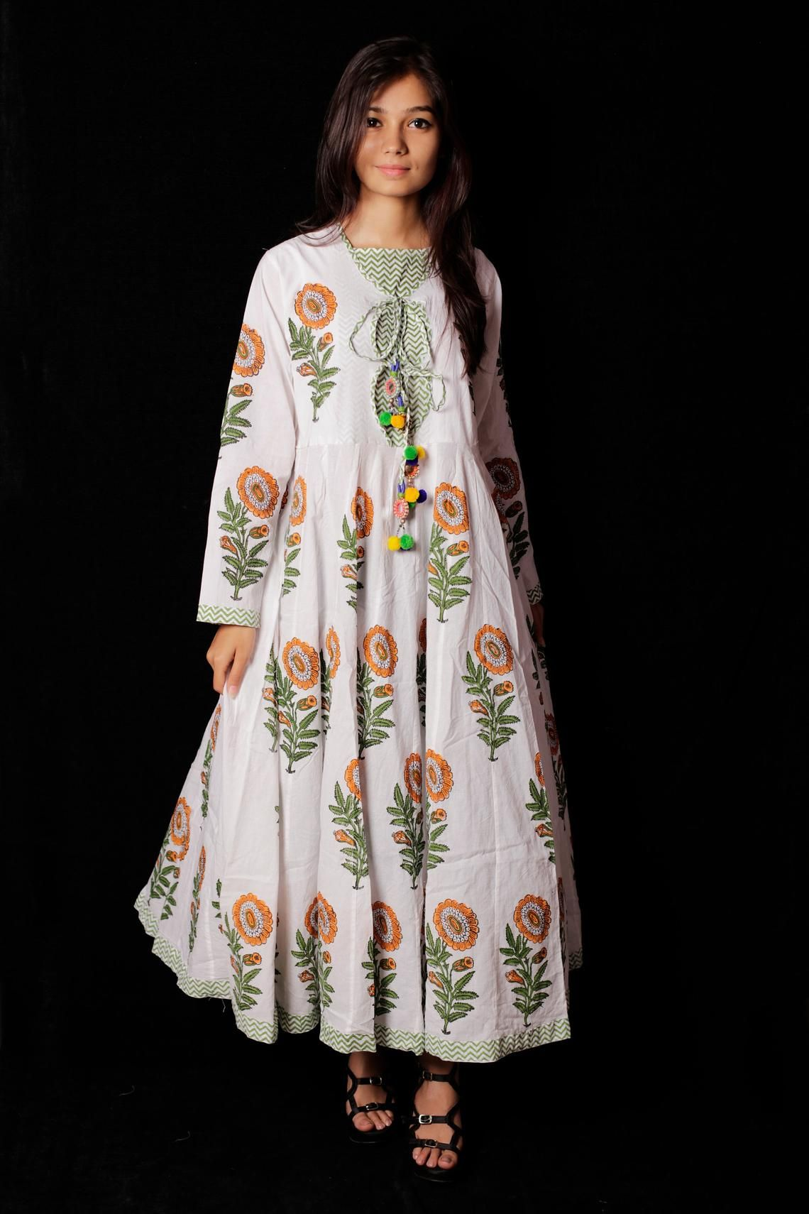 9f3ab9e4e1 Indian Hand block Printed Long Gown Dress For Women, Block Print ...