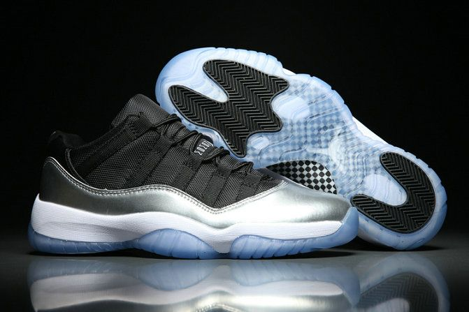 Authentic Air Jordan 11 Low 528895-011 Bright Silver Basketball Shoe For Sale