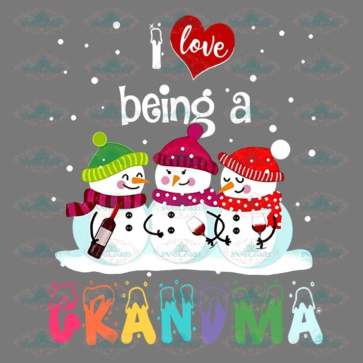 Download I love being a grandma, snowman, santa hat, snow, winter ...
