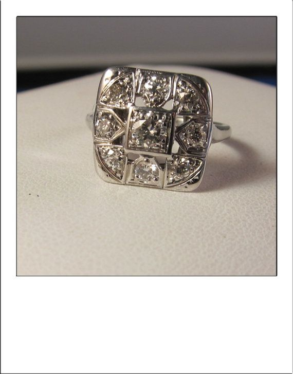 RESERVED FOR lsajna -- Art Deco Antique 14k .85 CT Large Square Dinner Ring