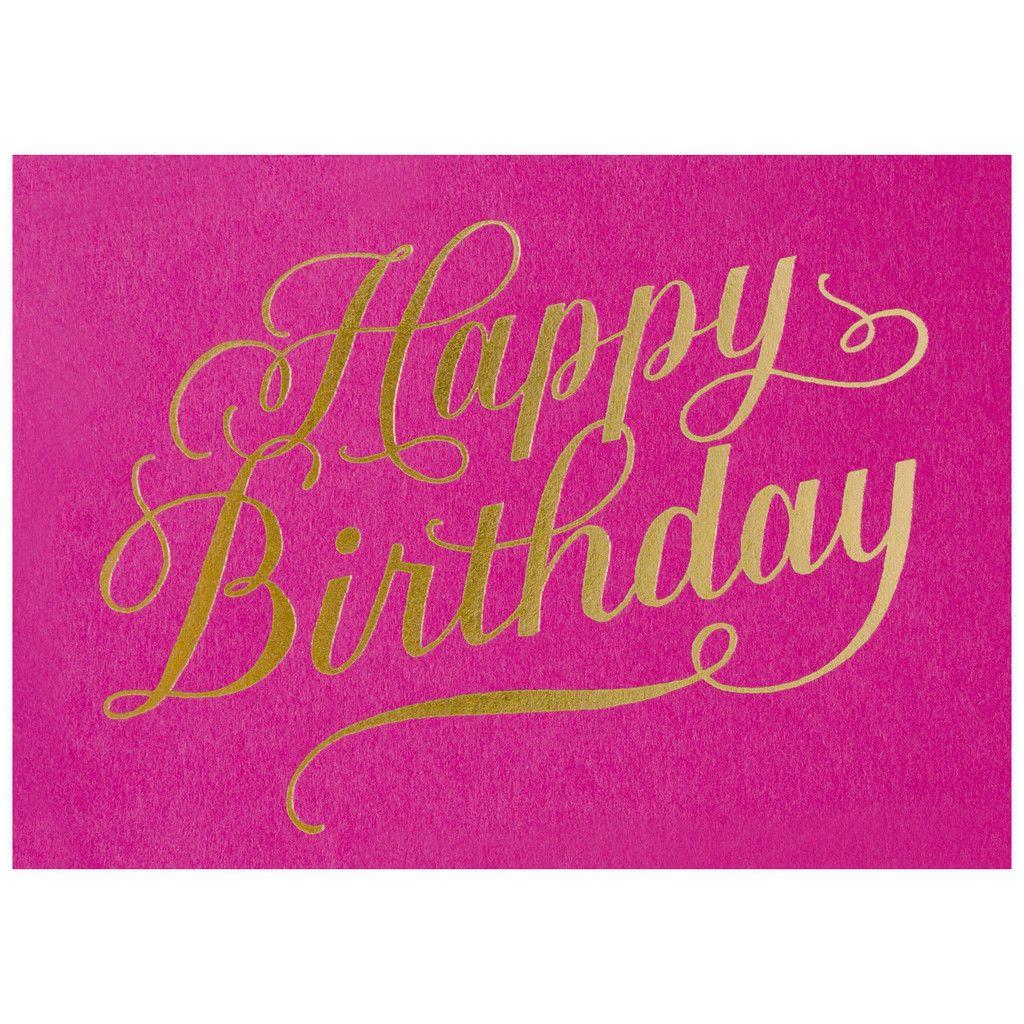 happy birthday calligraphy fuchsia card  happy birthday