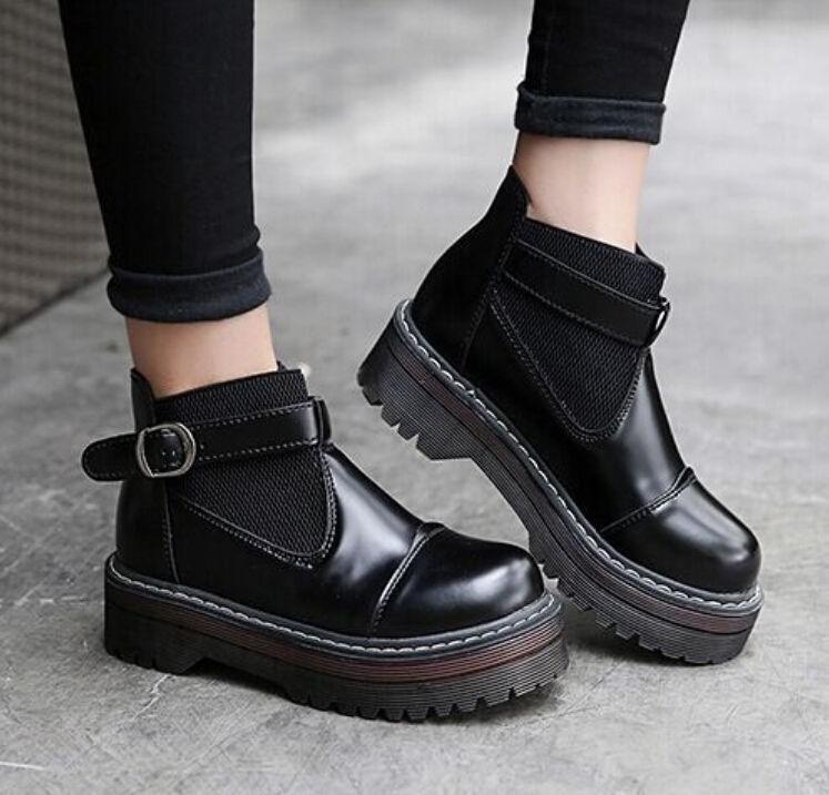 Shoes Winter Creeper Chic Punk Black Platform Retro Womens Gothic rXwPZEqX