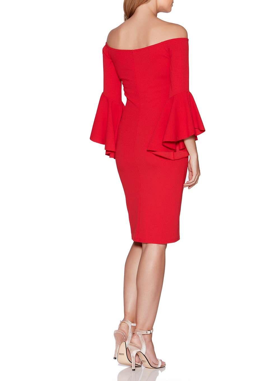Womens quiz red frill sleeve bardot dress red bardot dress and