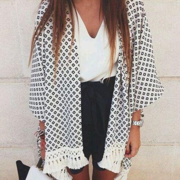 Stylish Lady Women's Fashion Casual 3/4 Sleeve Long White Chiffon ...