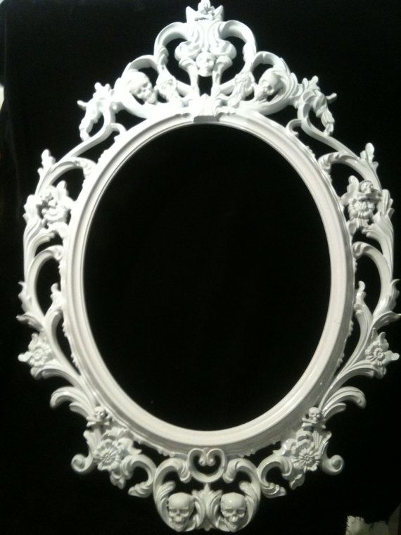 Gloss White Skull Oval Picture Frame Mirror Shabby Chic Baroque
