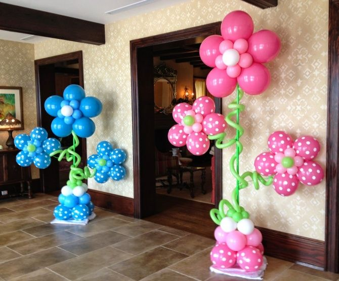 Baby Shower Flower Balloon Columns Easy Flower Balloon Pillars Balloon Flower Decorations Baby Shower Flowers Party Balloons