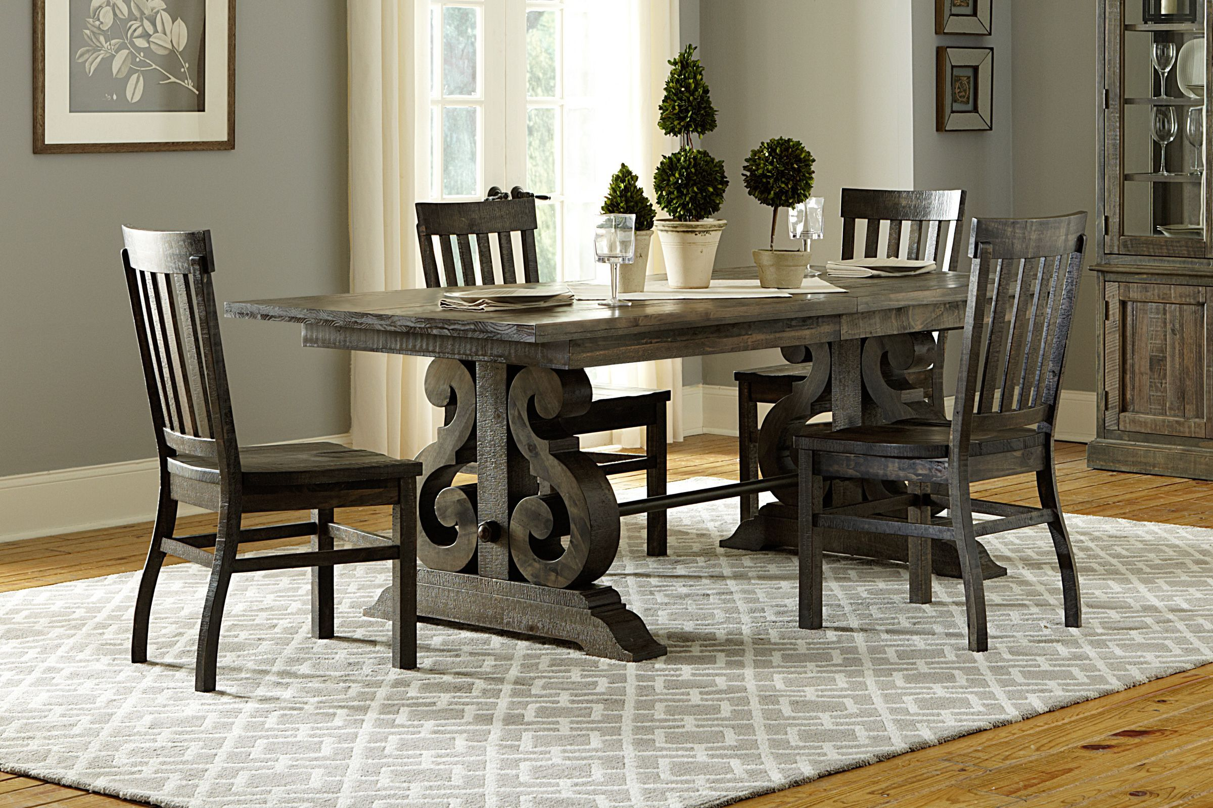 bellpine rectangular dining table + 4 side chairs in 2020