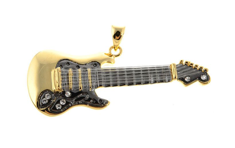 Rockys Pendant E-Guitar gold plated, Pendant E Guitar with strings, gold plated an high quality rhodanized, with stone. #rockys #jewellery #thomann