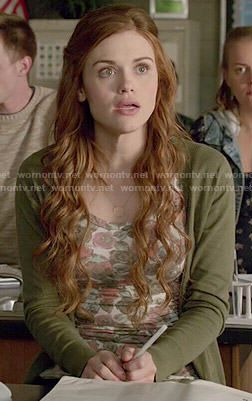 Lydia's floral top and green cardigan on Teen Wolf.  Outfit Details: http://wornontv.net/50203/ #TeenWolf