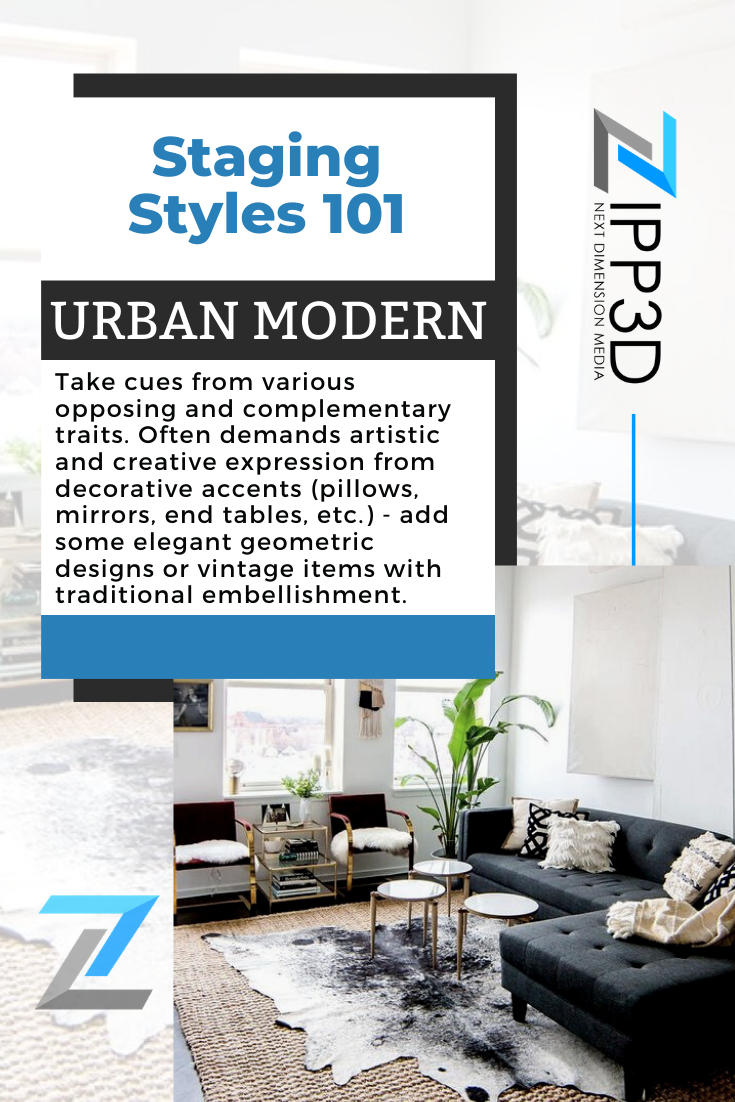 Urban Modern is a fusion of various styles such as minimalist modern, glamorous chic, ethnic heirlooms, and edgy experimental designs all colliding in a distinctively 21st-century setting.😎  #proptech #zipp3d #homeinteriordesign