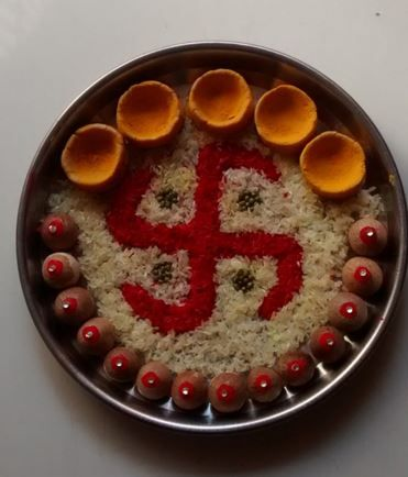 Aarti thali decoration diwali decoration and decorating for Aarti thali decoration with pulses