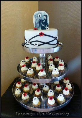 Tattoo Hochzeitstorte Mit Cup Cakes Tortendesign Susse Verzauberung