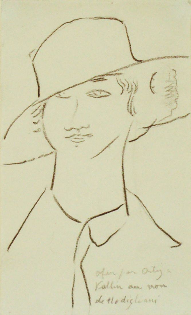 AMEDEO MODIGLIANI Portrait de femme au grand chapeau (signed & dedicated to the painter Manuel Ortiz de Zarate, friend of Modigliani) 1916 Oil pastel on paper 21 x 12 cm © VERED GALLERY, NEW YORK . |     N°5 CULTURE CHANEL Exhibition at Palais de Tokyo – The Truth Behind The Iconic Fragrance – THE FASHION POST