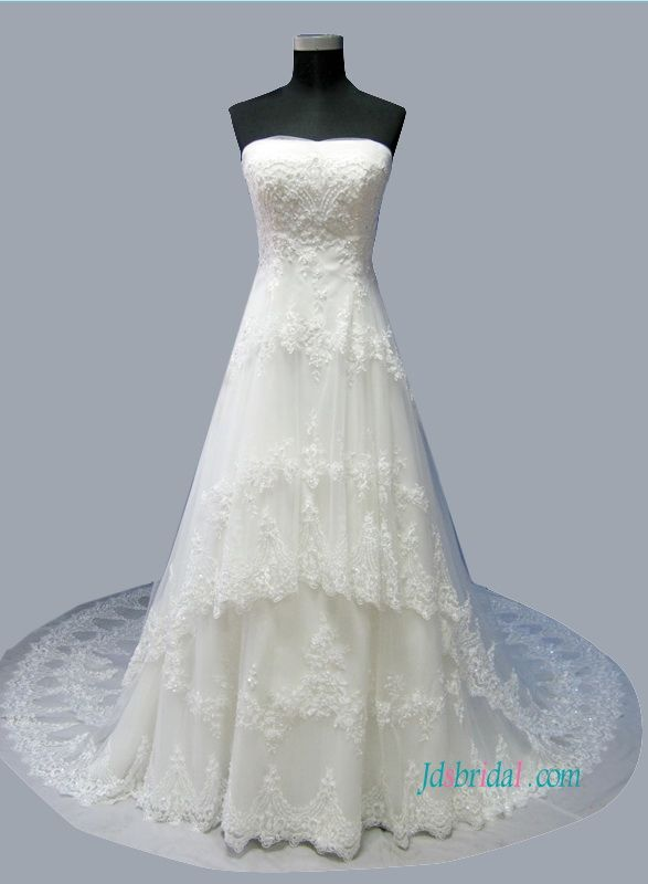 H1501 Latest Princess tiered tulle lace a line wedding dress ...