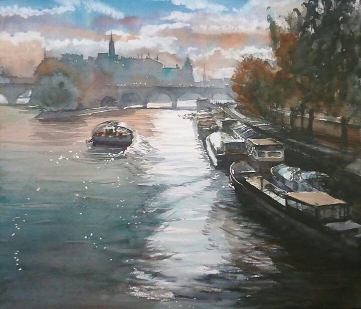 """""""Seine Glittering"""" in Paris  51cm × 72cm #paris #pontneuf #pier #watercolor #painting #kazuokasai #citycape #boat #france #gritter #river"""