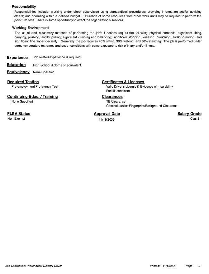 Millwright Resume Example Captivating Warehouse Job Description Resume  Httpresumesdesign .