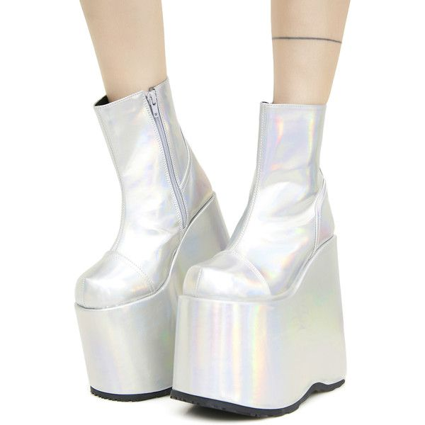 3e04069c222 Demonia Cyberdelia Hologram Platform Boots ( 92) ❤ liked on Polyvore  featuring shoes