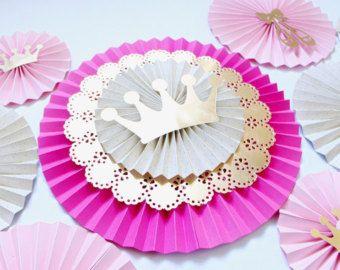 Princesa fiesta decoraciones princess baby shower por - Coronas infantiles de cumpleanos ...